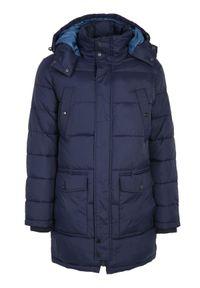 Niebieska kurtka TOP SECRET na zimę, elegancka, na co dzień, z kapturem
