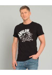 ONETEASPOON - Czarny t-shirt Avalon. Kolor: czarny. Materiał: bawełna, jeans. Wzór: aplikacja, nadruk