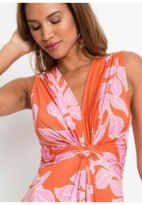 Letnia długa sukienka bonprix pomarańczowo-różowy w roślinny wzór. Kolor: pomarańczowy. Wzór: nadruk. Sezon: lato. Długość: maxi #2