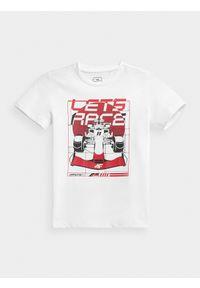 4f - T-shirt z nadrukiem chłopięcy. Kolor: biały. Materiał: bawełna, dzianina, materiał. Wzór: nadruk #1