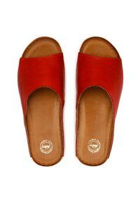 Łukbut - Klapki ŁUKBUT - 1434-219 Czerwony. Okazja: na co dzień. Kolor: czerwony. Materiał: skóra. Sezon: lato. Styl: casual