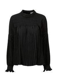 Czarna bluzka Cream krótka, z aplikacjami, ze stójką