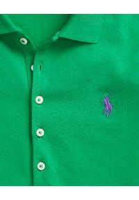 Ralph Lauren - RALPH LAUREN - Koszulka Polo Slim Fit. Typ kołnierza: polo. Kolor: zielony. Materiał: bawełna, materiał. Wzór: haft, aplikacja