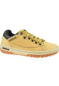 Żółte buty trekkingowe CATerpillar z cholewką, w kolorowe wzory
