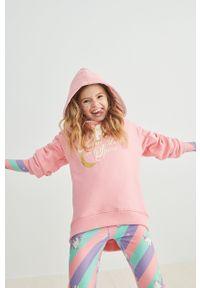 Różowa bluza Femi Stories z nadrukiem, z kapturem