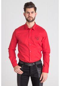 Versace Jeans - KOSZULA VERSACE JEANS. Typ kołnierza: kołnierzyk klasyczny. Materiał: elastan, bawełna. Wzór: haft
