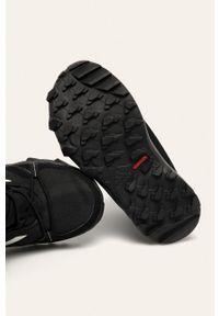 Czarne buty zimowe adidas Performance z okrągłym noskiem, na rzepy, z cholewką, na zimę