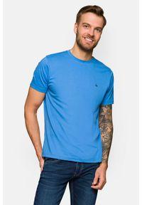 Lancerto - Koszulka Niebieska Mark. Okazja: na co dzień. Kolor: niebieski. Materiał: włókno, materiał, bawełna. Wzór: aplikacja. Sezon: lato, jesień, wiosna, zima. Styl: klasyczny, casual