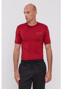 EA7 Emporio Armani - T-shirt. Kolor: czerwony. Materiał: dzianina, materiał. Wzór: nadruk. Styl: sportowy