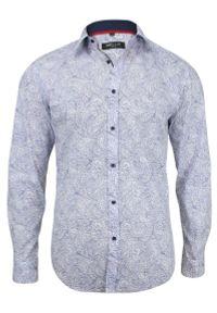 Niebieska elegancka koszula Bello długa, paisley, z długim rękawem