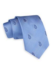 Błękitny Szeroki Krawat -Angelo di Monti- 7 cm, Męski, Niebieski, Wzór Paisley, Łezki. Kolor: niebieski. Wzór: paisley. Styl: wizytowy, elegancki