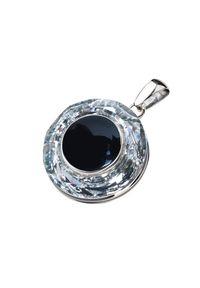 Polcarat Design - Wisiorek srebrny zdobiony Swarovski Crystal Cosmic Ring W 1705 Onyks. Materiał: srebrne. Kolor: srebrny. Wzór: aplikacja. Kamień szlachetny: onyks