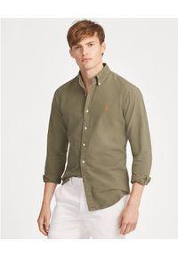 Ralph Lauren - RALPH LAUREN - Koszula Slim Fit Oxford. Typ kołnierza: polo. Kolor: zielony. Materiał: bawełna. Długość rękawa: długi rękaw. Długość: długie. Wzór: haft. Styl: klasyczny