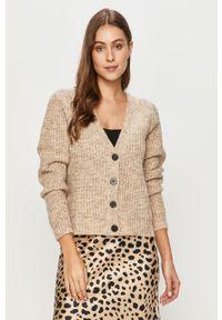 Kremowy sweter rozpinany Jacqueline de Yong długi, casualowy