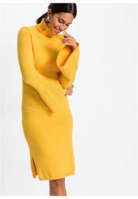 Żółta sukienka bonprix rozkloszowana, w prążki