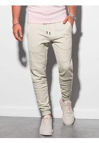 Ombre Clothing - Spodnie męskie dresowe joggery P987 - jasnoszare - XXL. Kolor: szary. Materiał: dresówka