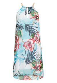 Niebieska sukienka bonprix w kwiaty, na ramiączkach