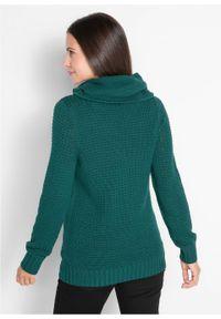 Sweter z golfem z troczkami bonprix głęboki zielony. Typ kołnierza: golf. Kolor: zielony. Materiał: skóra. Wzór: aplikacja