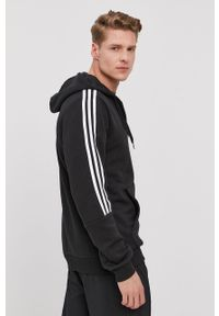 Czarna bluza rozpinana Adidas z kapturem, na co dzień, casualowa, gładkie