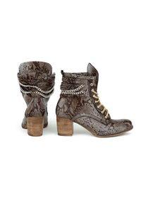 Brązowe botki Zapato w kolorowe wzory, wąskie