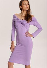 Renee - Lawendowa Sukienka Rhelvia. Kolor: fioletowy. Materiał: dzianina. Długość rękawa: długi rękaw. Wzór: jednolity, gładki. Długość: mini