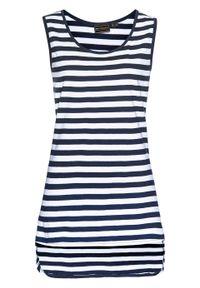 Długi top w paski, z okrągłym dekoltem bonprix ciemnoniebiesko-biały. Kolor: niebieski. Długość: długie. Wzór: paski