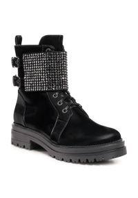 Czarne buty trekkingowe Loriblu z cholewką, z aplikacjami