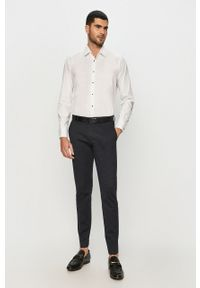 Biała koszula Karl Lagerfeld długa, z klasycznym kołnierzykiem, z długim rękawem, elegancka