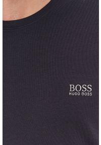BOSS - Boss - T-shirt. Okazja: na co dzień. Kolor: niebieski. Materiał: dzianina. Wzór: gładki. Styl: casual