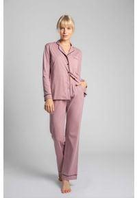 MOE - Długie Spodnie Piżamowe z Lamówkami - Wrzosowe. Kolor: fioletowy. Materiał: bawełna. Długość: długie