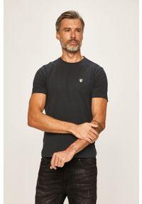 EA7 Emporio Armani - T-shirt. Kolor: niebieski. Materiał: dzianina
