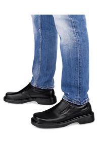 ESCOTT - Mokasyny męskie Escott 850 Czarne. Zapięcie: bez zapięcia. Kolor: czarny. Materiał: tworzywo sztuczne, skóra. Obcas: na obcasie. Styl: elegancki. Wysokość obcasa: średni