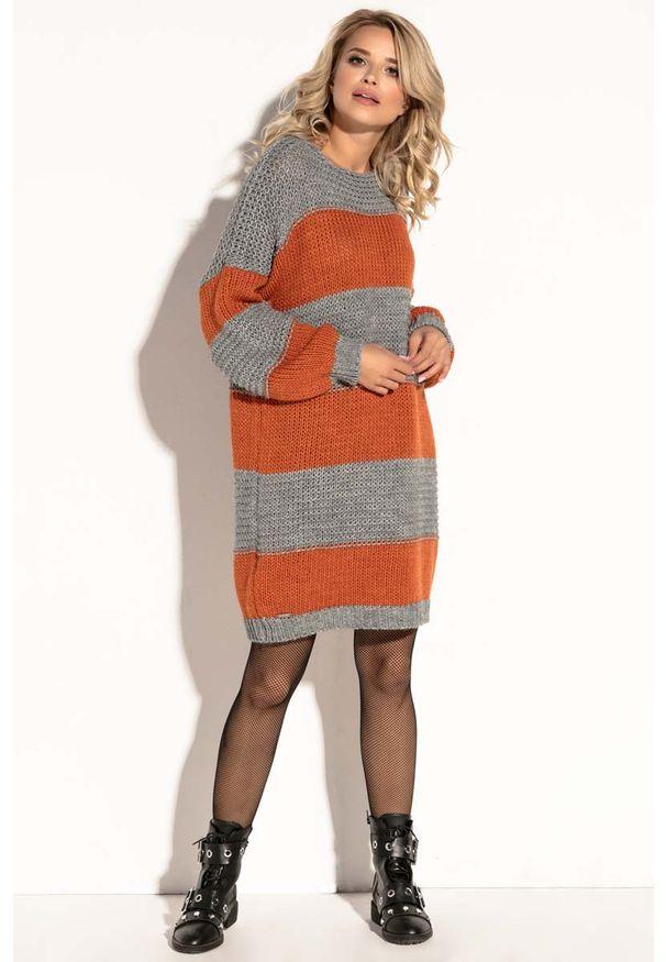 Pomarańczowa sukienka dzianinowa Fobya mini