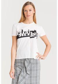 T-shirt Sportmax Code z aplikacjami, z okrągłym kołnierzem