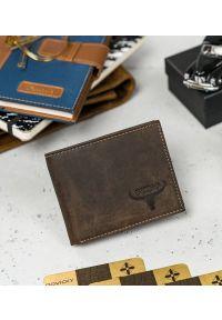 BUFFALO WILD - Skórzany portfel męski brązowy Buffalo Wild RM-05-HBW BROWN. Kolor: brązowy. Materiał: skóra