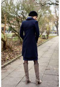 Marie Zélie - Płaszcz wełniany Debora granatowy – flausz. Kolor: niebieski. Materiał: wełna. Wzór: motyw zwierzęcy. Sezon: zima. Styl: klasyczny #7