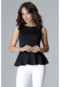 Czarna bluzka Katrus elegancka, bez rękawów