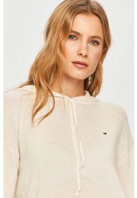 Biały sweter TOMMY HILFIGER z kapturem, casualowy, na co dzień, z długim rękawem