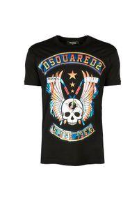 T-shirt DSQUARED2 na co dzień, casualowy, z nadrukiem