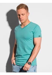 Ombre Clothing - T-shirt męski bawełniany basic S1369 - turkusowy - XXL. Kolor: turkusowy. Materiał: bawełna. Styl: klasyczny