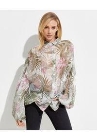 ICON - Jedwabna koszula w kwiaty. Kolor: biały. Materiał: jedwab. Długość: długie. Wzór: kwiaty
