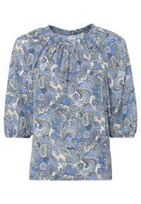 Bluzka szyfonowa bonprix niebieski paisley. Kolor: niebieski. Materiał: szyfon. Wzór: paisley