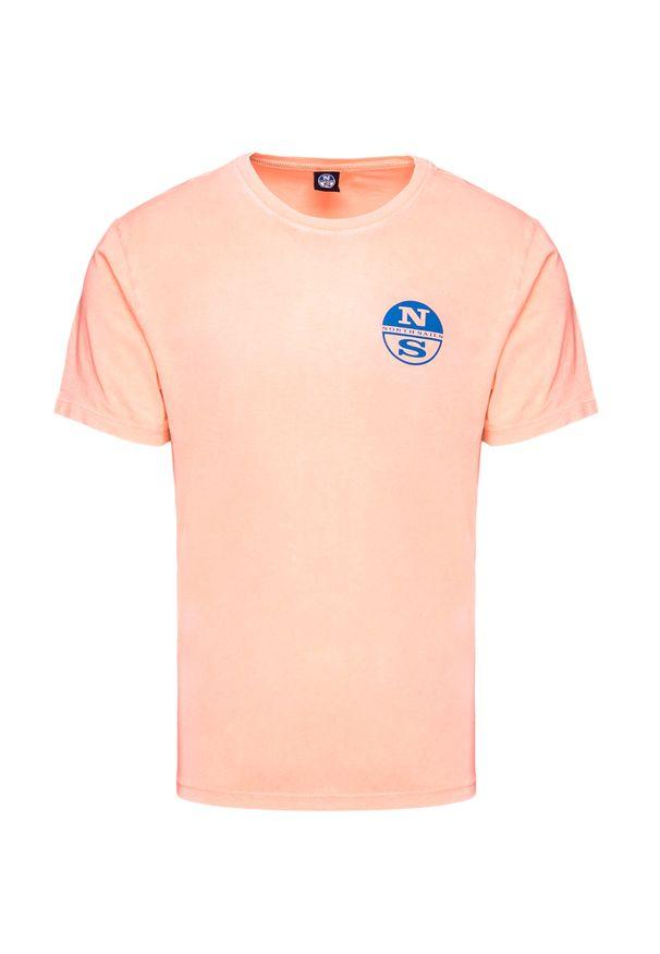 Pomarańczowy t-shirt North Sails z okrągłym kołnierzem, w kolorowe wzory