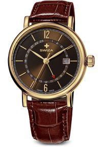 Zegarek Swiza Zegarek damski Alza GMT PVD brązowy (WAT.0142.1401). Kolor: brązowy