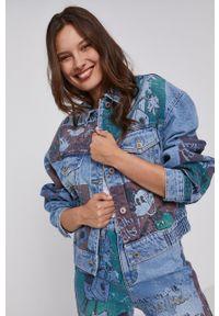 Desigual - Kurtka jeansowa x Disney. Kolor: niebieski. Materiał: jeans. Wzór: motyw z bajki