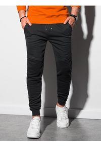 Ombre Clothing - Spodnie męskie dresowe P954 - czarne - XXL. Kolor: czarny. Materiał: dresówka. Wzór: gładki