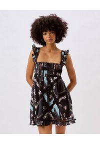 For Love & Lemons - FOR LOVE & LEMONS - Czarna sukienka mini Leanne. Typ kołnierza: dekolt kwadratowy. Kolor: czarny. Materiał: bawełna. Długość rękawa: na ramiączkach. Wzór: nadruk. Typ sukienki: rozkloszowane. Długość: mini