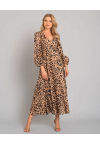 ZIMMERMANN - Lniana sukienka w panterkę. Kolor: brązowy. Materiał: len. Wzór: motyw zwierzęcy. Typ sukienki: rozkloszowane. Długość: maxi