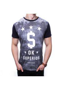 Czarny t-shirt z nadrukiem Recea na co dzień, klasyczny, z krótkim rękawem