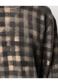 Kenzo - KENZO - Sweter w kratkę tie dye. Kolor: czarny. Materiał: wełna, prążkowany. Długość rękawa: długi rękaw. Długość: długie. Wzór: kratka